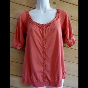 Deletta Anthropologie Burnt Orange Scoop Shirt Top